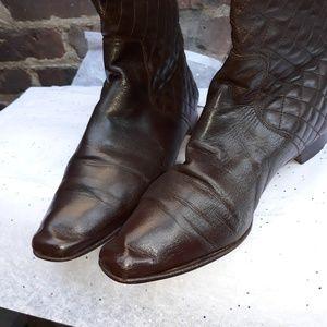 Brown leather Manolo Blahnik high boot.